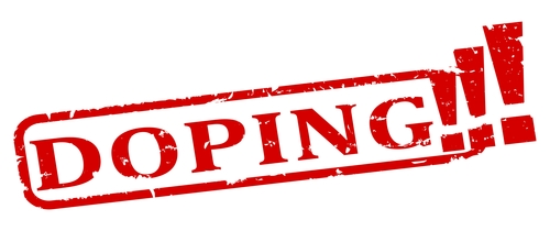 Scratched oval red stamp with the word - doping - illustration